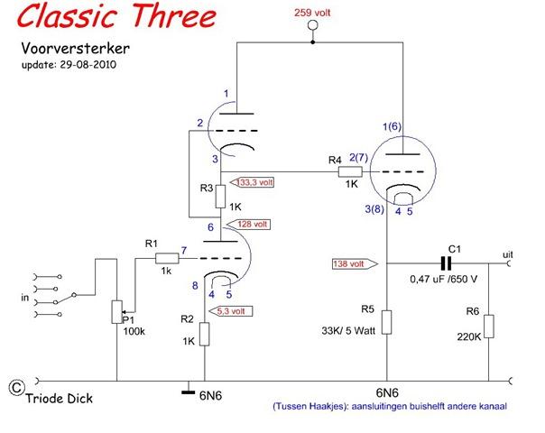 Classic Three Schema versterkerschakeling